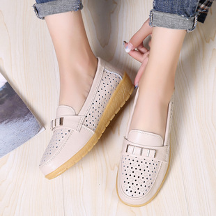 New mother's shoes, single shoes, women's peas shoes, fashion leather shoes, women's soft-soled hollow large size casual shoes