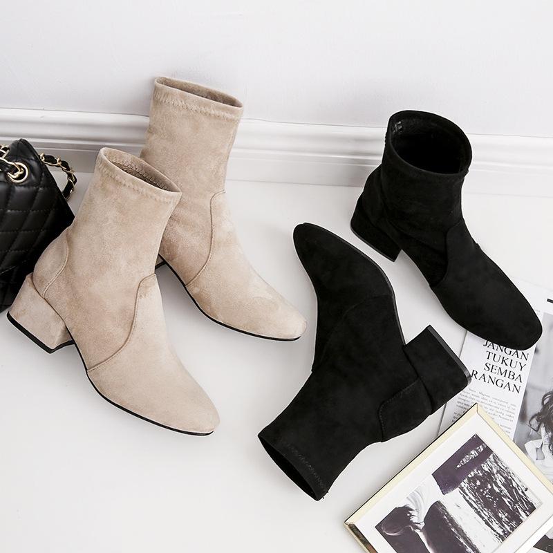 2019秋冬新款韩版时尚方头粗跟短靴网红显瘦中跟马丁靴瘦瘦靴代发