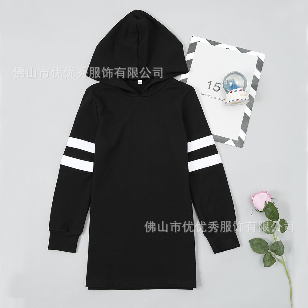 European and American popular Amazon eBay for leisure black sports hooded stripe long sleeve top long sweater
