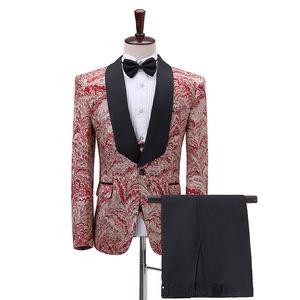 men's jazz dance suit blazers Three piece suit for men wine red jacquard and blue fruit collar