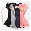 睡裙女夏新款纯棉免文胸一体式半袖长款冰瓷棉睡衣可外穿家居服