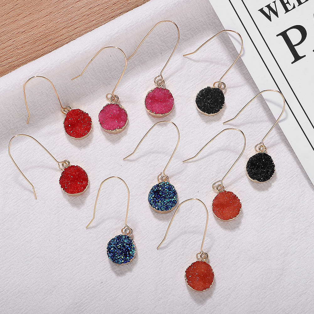 Resin alloy candy-colored earrings Korean new gravel earrings small jewelry wholesale simple sweet jewelry accessories NHJQ196252