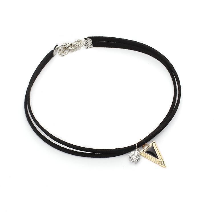 new hot-saling choker zircon three-dimensional geometric triangle short necklace for women NHRN259950