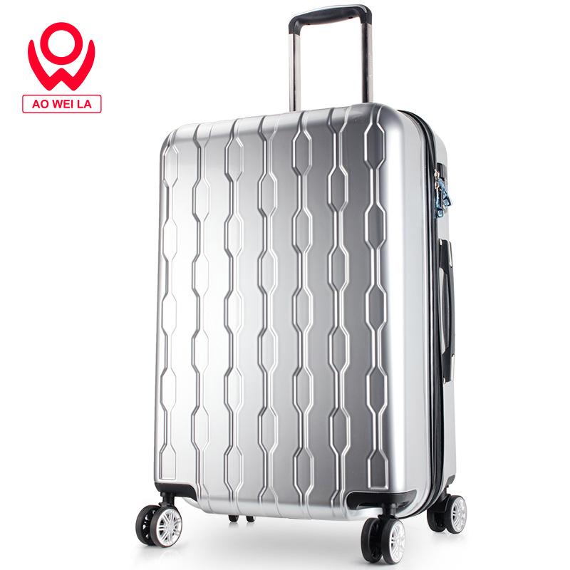 Aoweila/定制20寸防水拉杆箱ABS+PC男女时尚行李箱耐磨