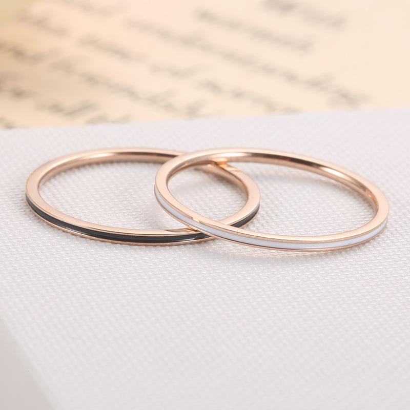 不锈钢时尚1mm细关节黑白滴胶钛钢戒指 钛钢玫瑰金情侣对戒j31