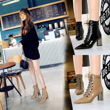 1988-3 Korean style, all-around trend, bright surface, patent leather, pointed metal, high heel, cross strap, lace up boots