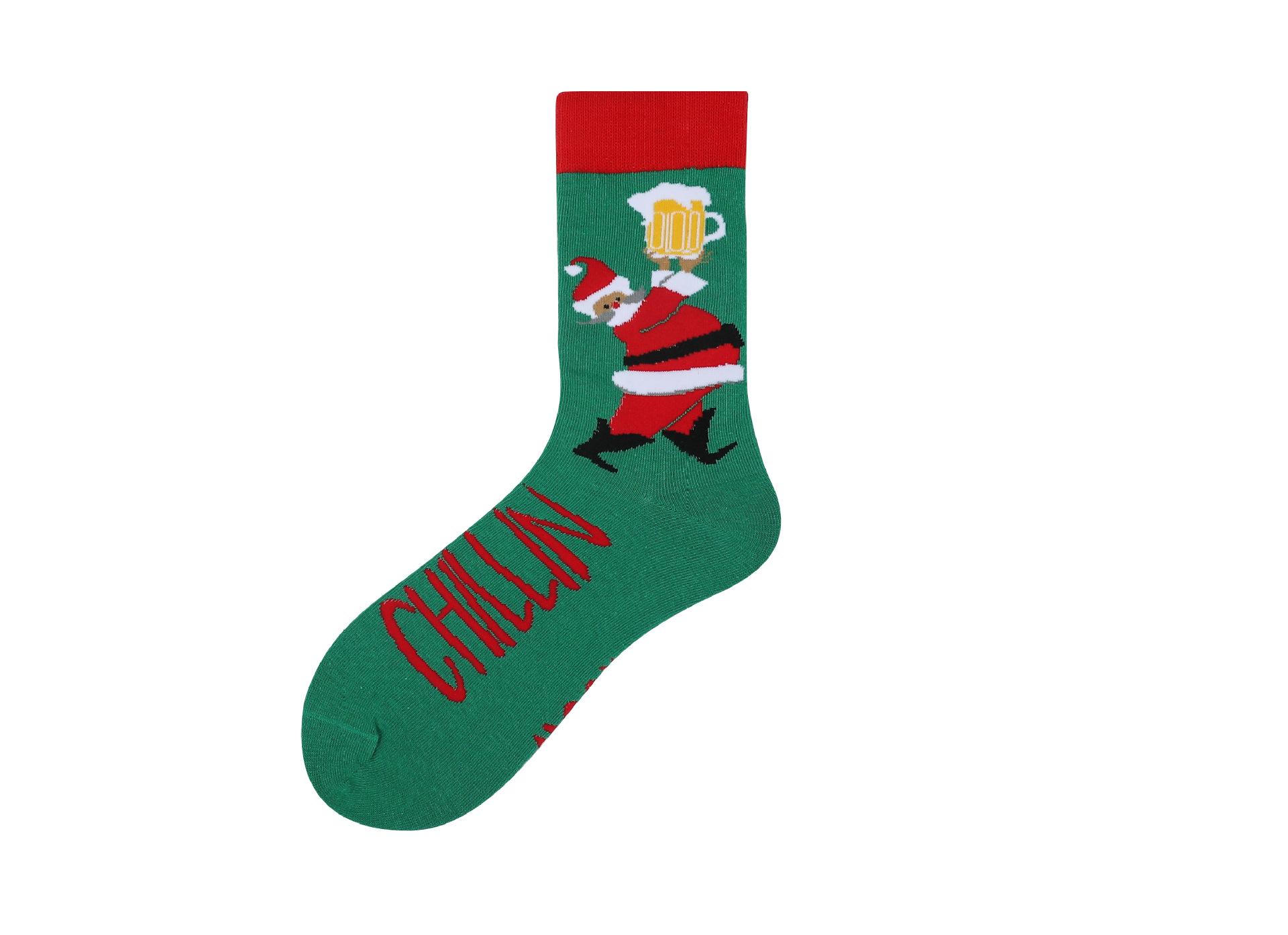 圣诞袜子中筒男成人礼品潮袜ins纯棉袜卡通袜跨境专供亚马逊定制
