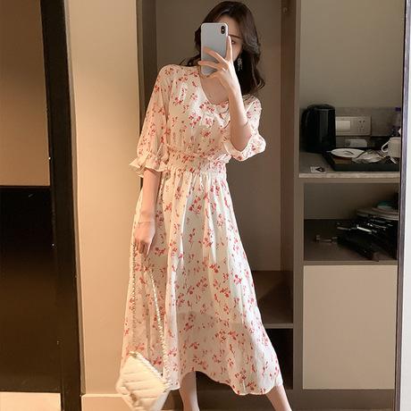 2019 Hàn Quốc phiên bản của siêu cổ tích váy mùa hè cổ tích dựa vào rừng V-cổ eo cao hoa cô gái váy phần dài của váy voan
