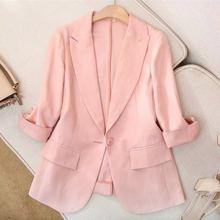 2019春夏新款粉色麻料西装外套女七分袖薄款亚麻修身短款小西服女