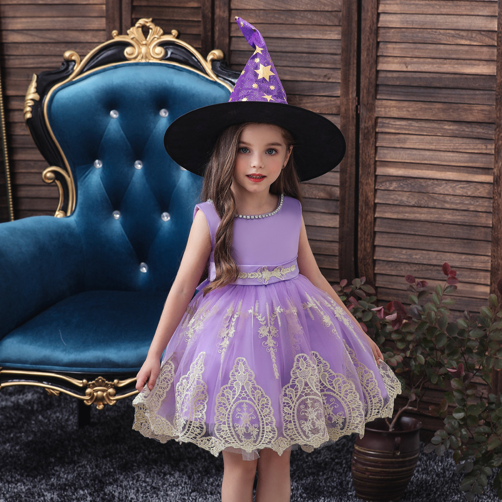 Princess dress skirt childrens dress Christmas Halloween costumes witch hat NHTY198316