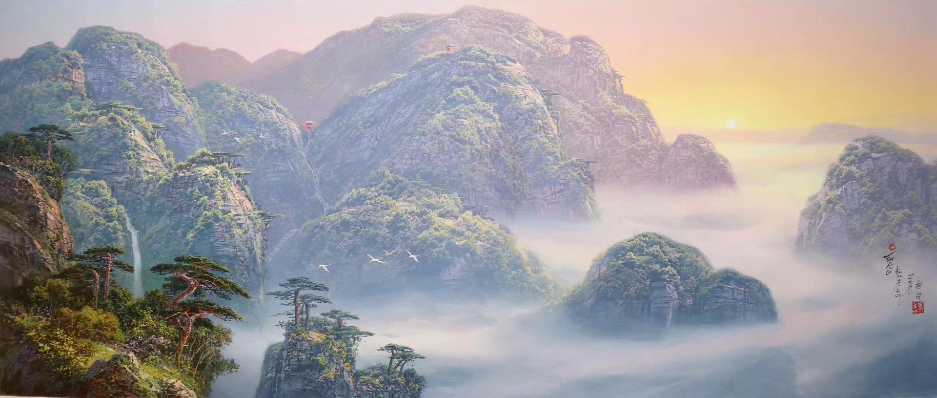 純手繪自然風光 人間仙境 朝鮮 風景油畫