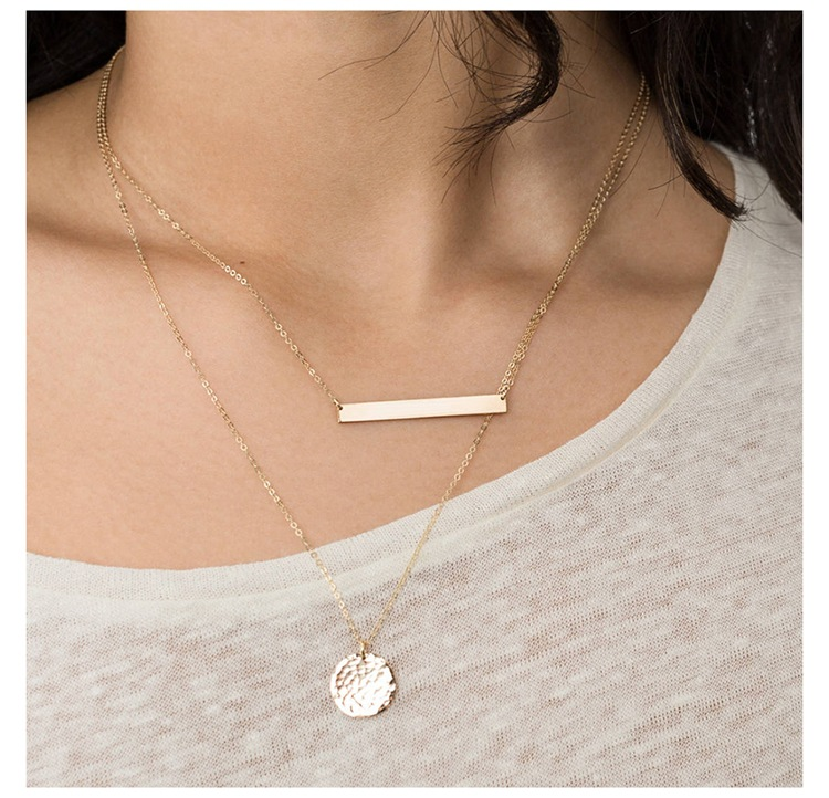Stainless steel necklace simple pendant female clavicle chain necklace NHTF175341
