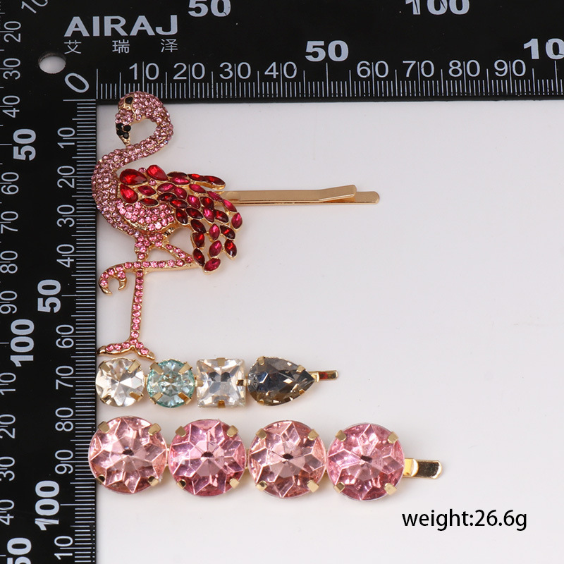 Fashion Womens Imitated crystal Flamingo Hair Clips NHJJ133795