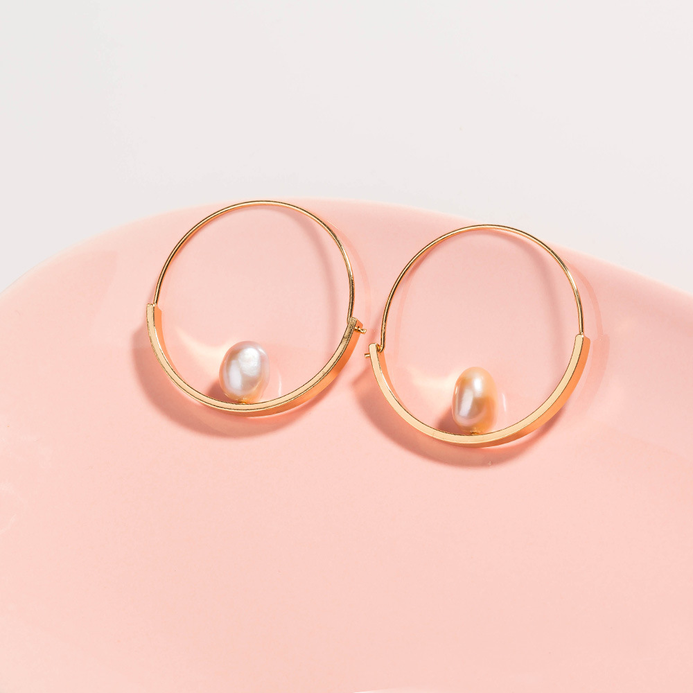 Fashion new style Natural Freshwater Pearl Simple Round Earrings NHAN355554