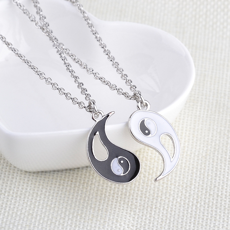 New round oil drop pendant necklace engraved letters Best Friends Tai Chi gossip good friend necklace NHMO209059