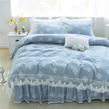 新款全棉床裙款四件套1.5x2.0m纯棉蕾丝被罩2.0*2.3被套床上用品