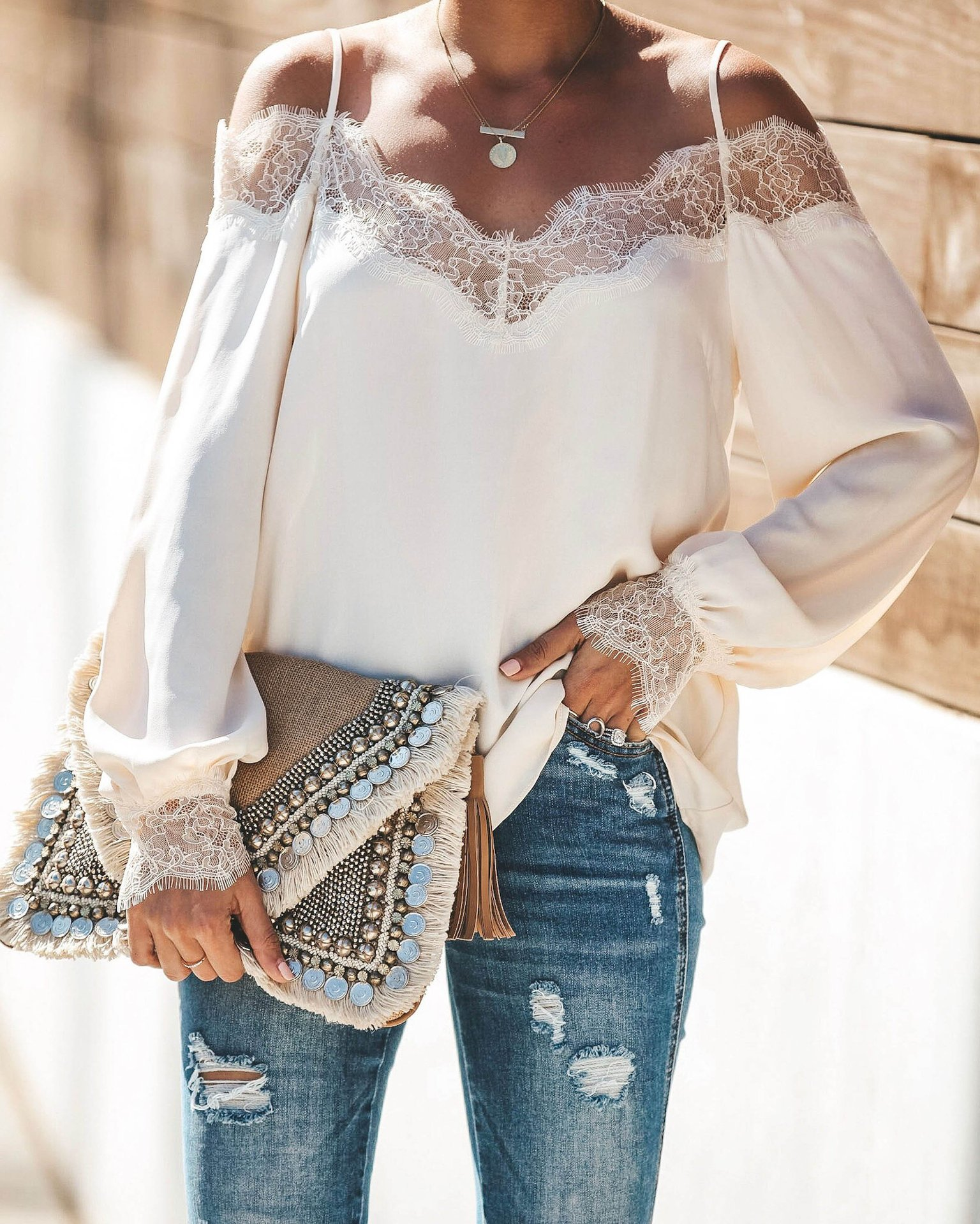 lace stitching fashion casual chiffon long-sleeved shirt  NSYF1126