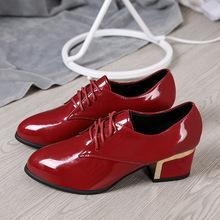 2018秋冬新款中跟皮鞋粗跟系帶深口韓版圓頭女鞋女單鞋