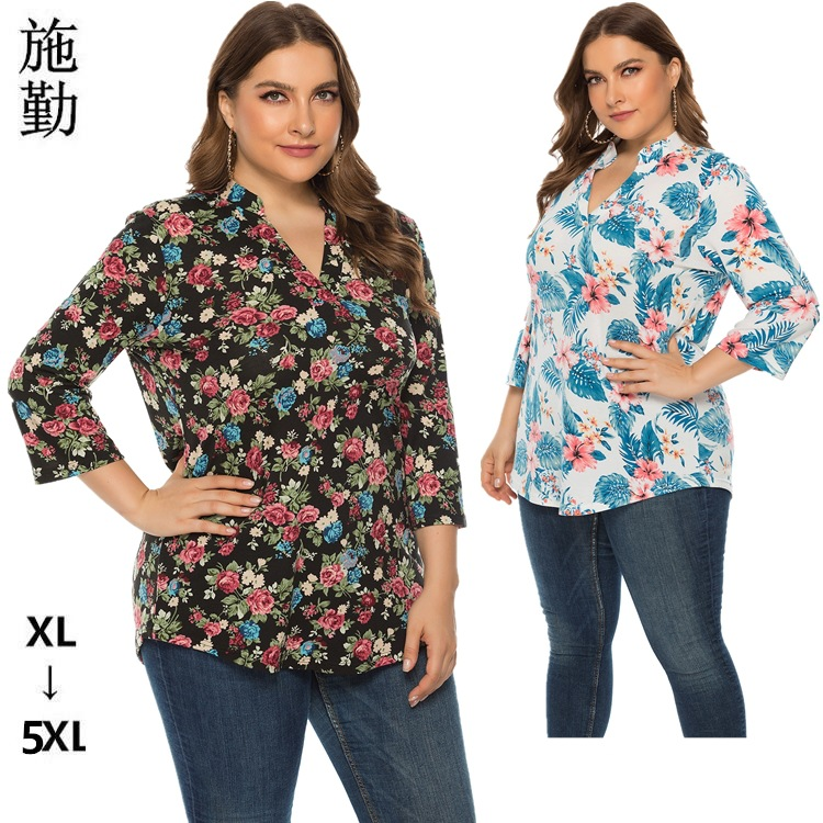 Autumn 2019 new European and American large women's loose Pullover printed top sq0139