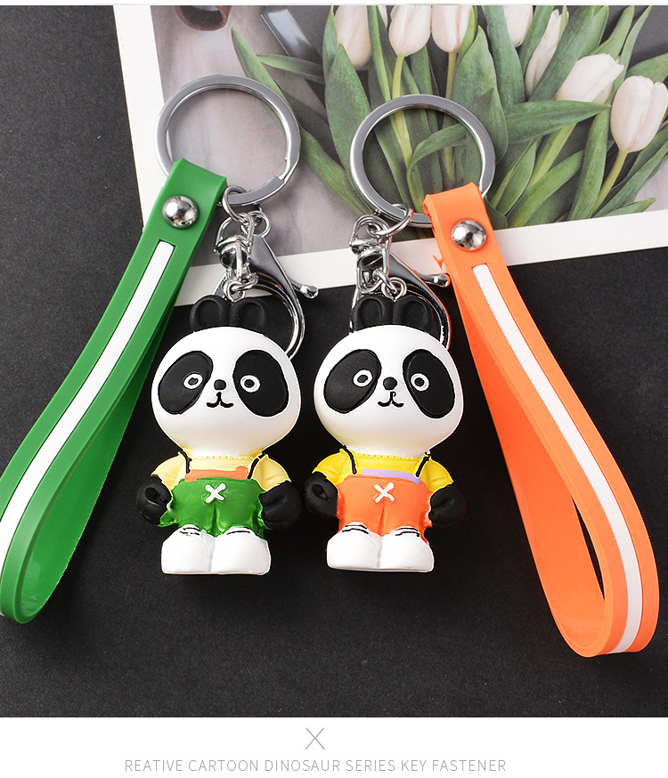 New Fashion Resin Panda Keychain Student Backpack Car Pendant Craft Gift Wholesale NHCB199168