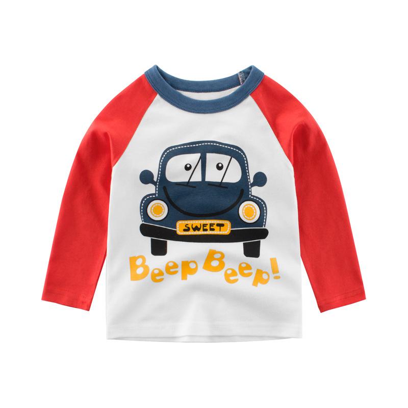 27KIDS韩版童装男童秋装新品 儿童长袖T恤小汽车宝宝上衣一件代销