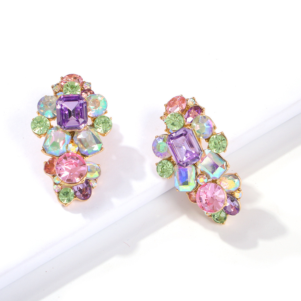 Womens Geometric Alloy Imitation Rhinestone Earrings NHMD125502