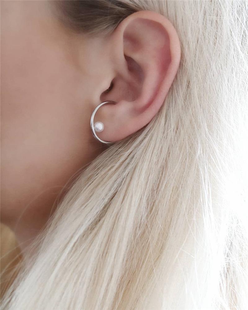 Retro circle ear clip auricle fake earrings single pearl ear bone clip without piercing women NHYQ185684