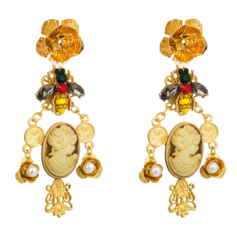Europe and the United States retro Baroque style alloy coins fashion earrings female Asian golden beauty head flower bee earrings NHLN177690