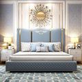 后现代简约真皮床1.8米主卧港式轻奢ins网红床美式皮艺双人床婚床