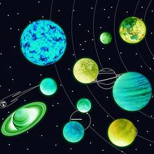 夜光宇宙星球墻貼畫發光自粘貼紙印刷太陽地球行星外貿跨境貨源