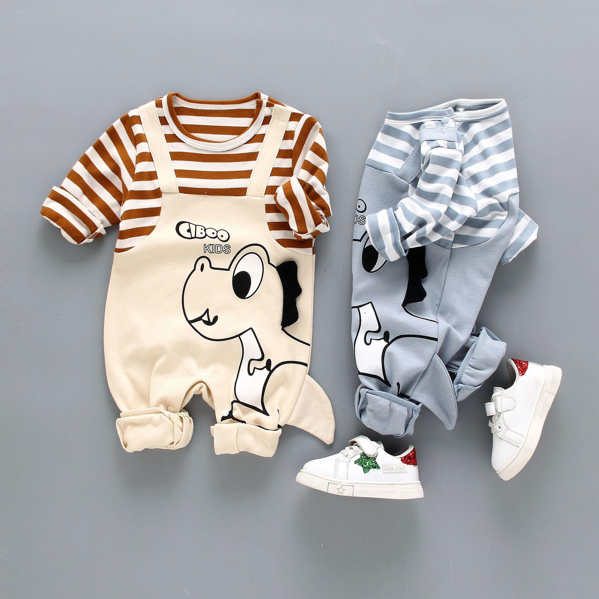 新款棉质婴儿连体衣0-1岁春秋男女宝宝长袖哈衣婴童爬爬服外出服
