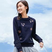 2019新款韩版长袖女式上衣绣花修身加绒套头卫衣女