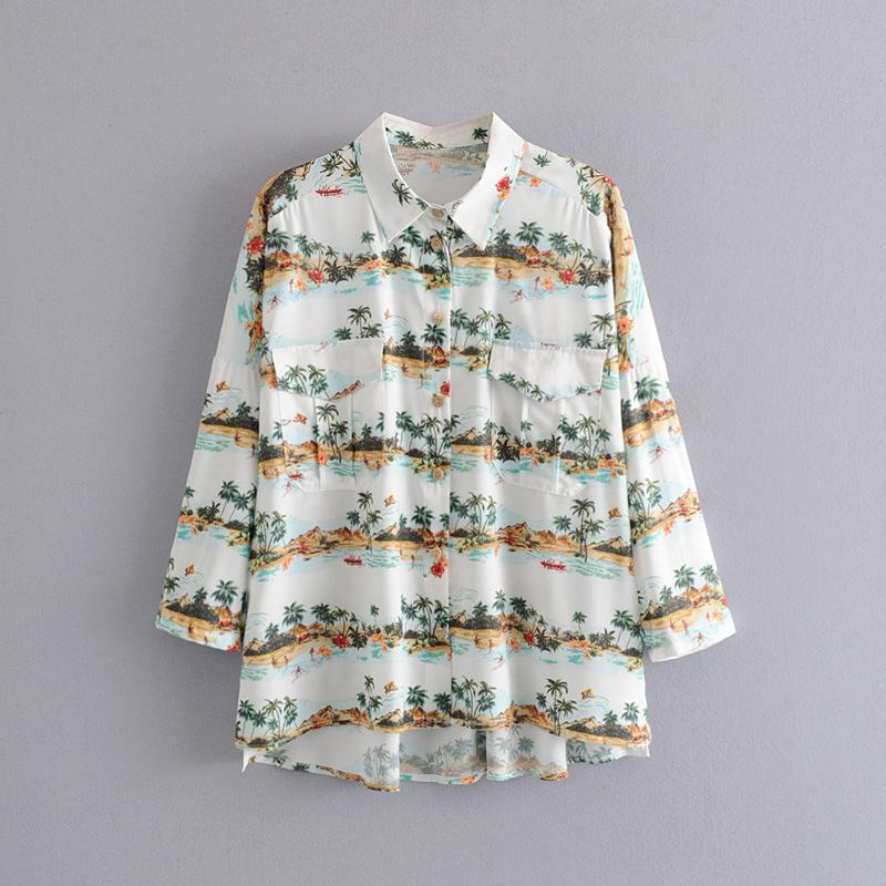 Express eBay 2019 long sleeve small floral coconut print Lapel long sleeve shirt women's shirt 9006057