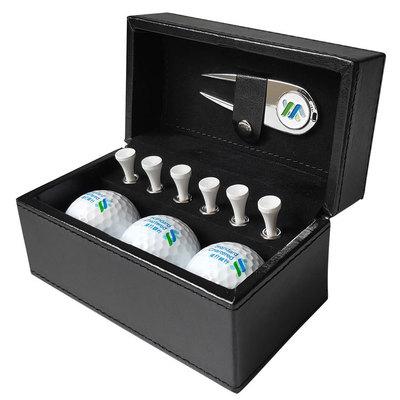 高尔夫皮盒礼品套装 高尔夫球果岭叉TEE礼盒套装 定制LOGO