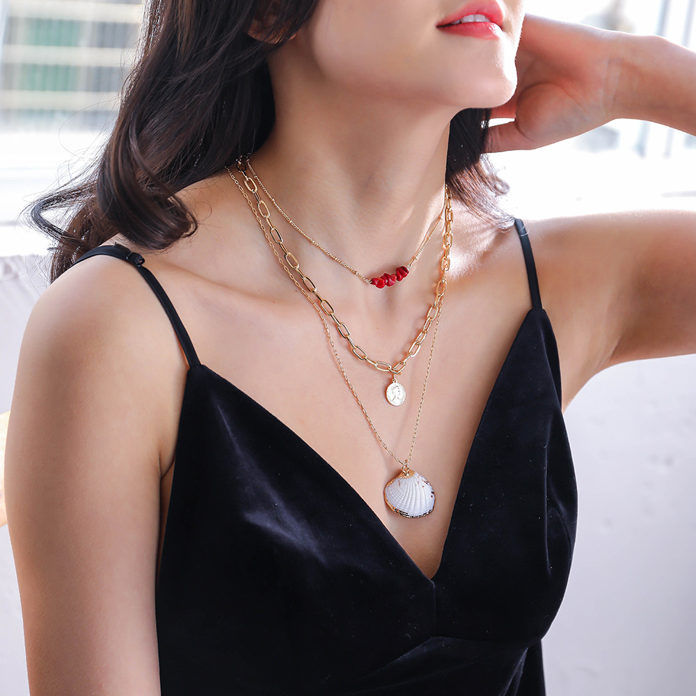 fashion coral stone clavicle chain gold coin natural shell pendant multilayer alloy necklace for women NHAN246855