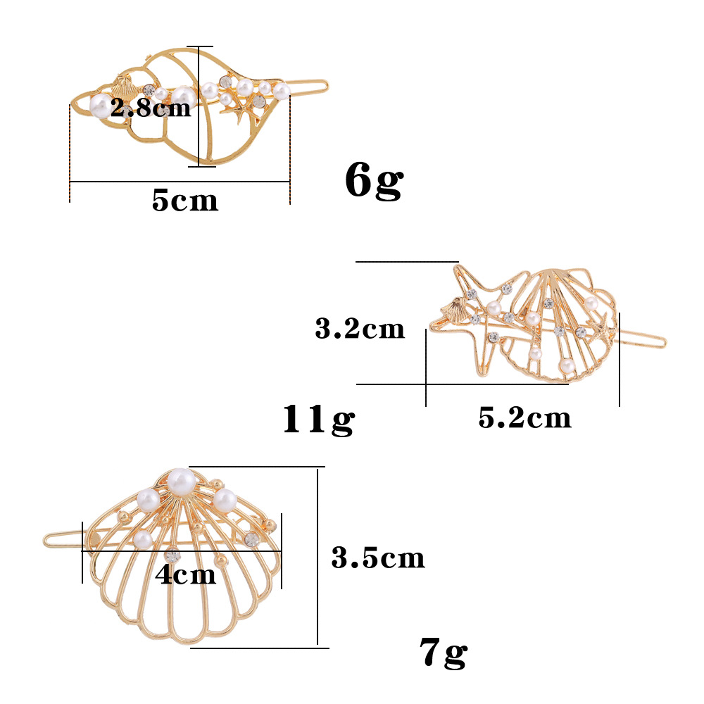 Best selling hair accessories new alloy starfish shell conch hairpin folder NHHN176486