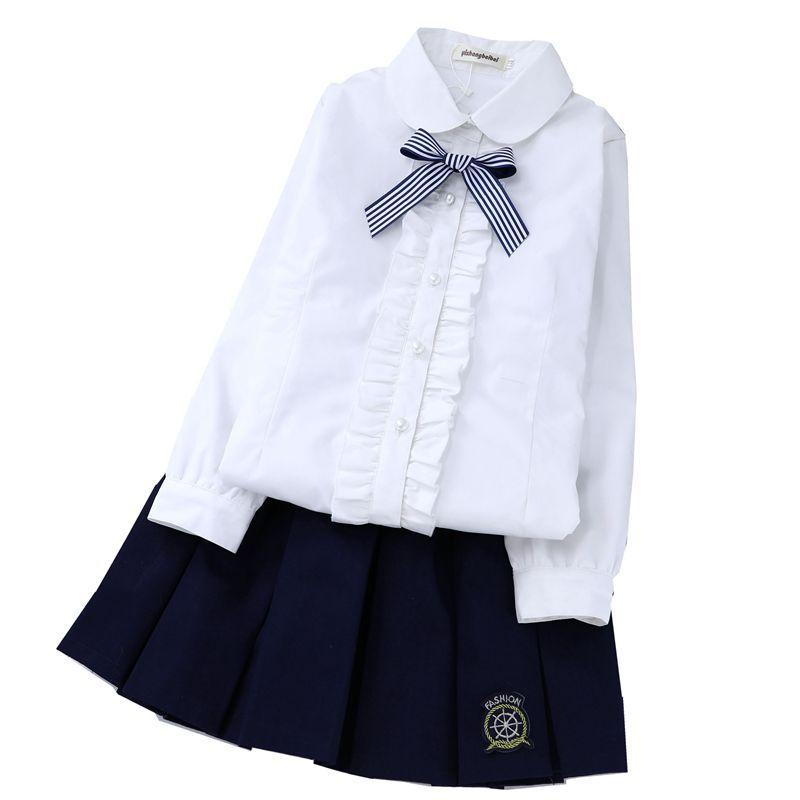 女童加绒衬衫秋冬加厚保暖白衬衣儿童寸衫大童纯棉校服洋气小学生