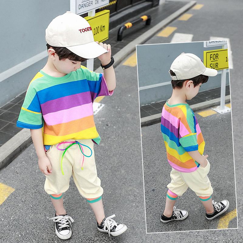 男童条纹彩虹套装2019夏季新款儿童韩版休闲两件套童装潮一件代发