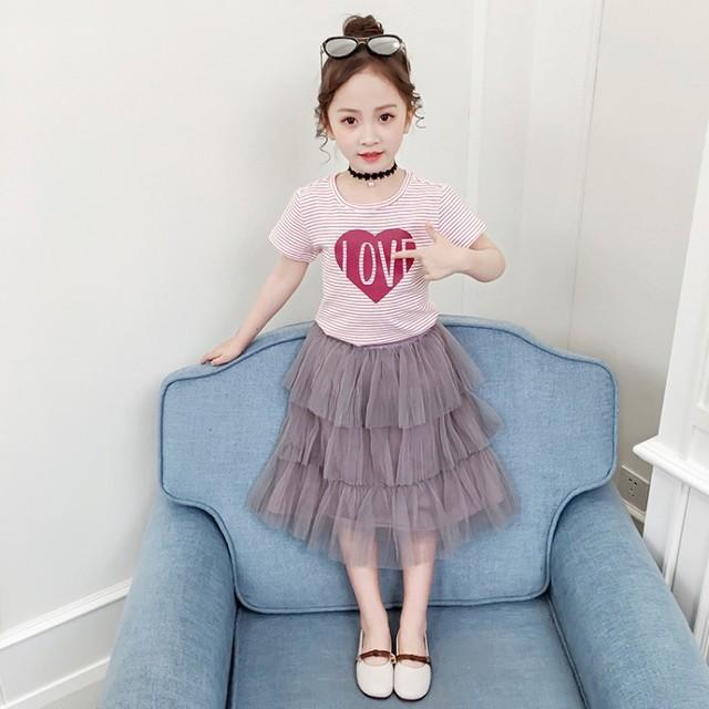 Bộ đồ bé gái mùa hè 2019 Quần áo trẻ em Hàn Quốc trẻ em lớn tay ngắn trẻ em sọc áo thun gạc thời trang hai mảnh Bộ đồ trẻ em