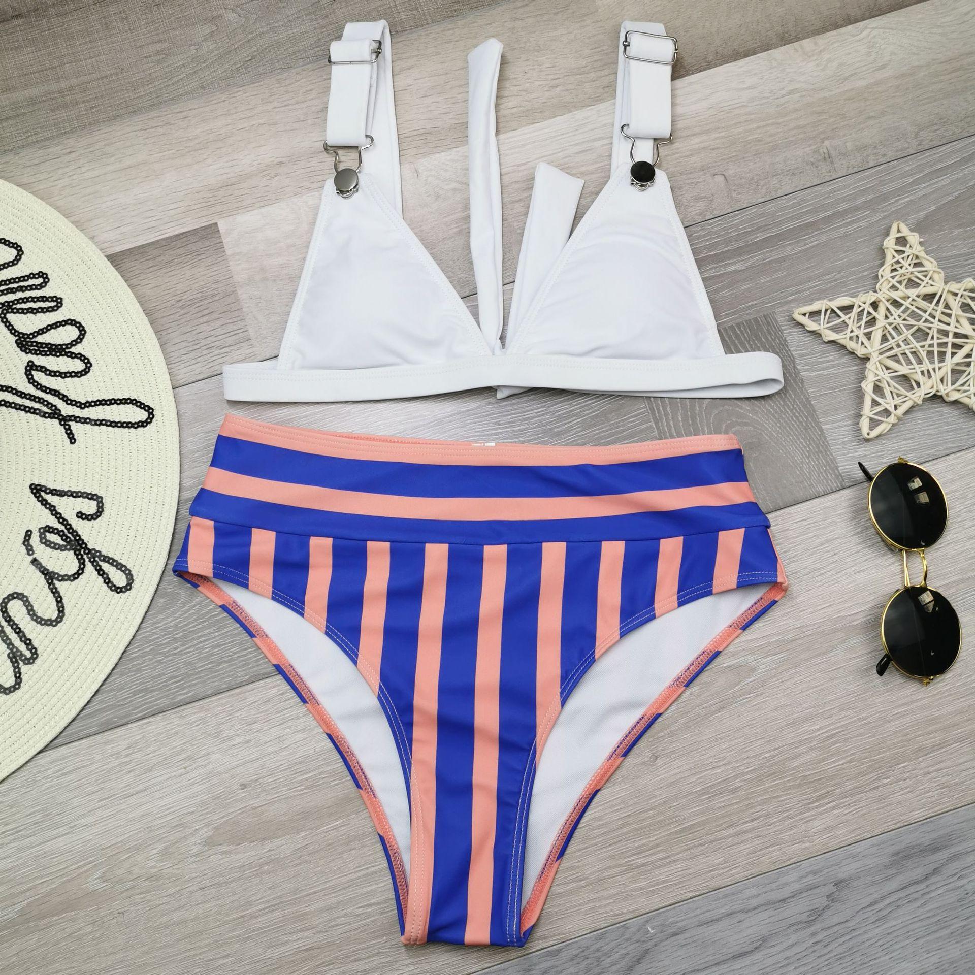 Bikini buckle stripe high waist split bikini swimwear sexy new swimsuit NHHL203348