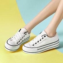 厚底白色帆布鞋女鞋韩版百搭板鞋学生2019春季大码布鞋休闲松糕鞋