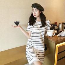 夏季女长裙 休闲连衣裙 小众显瘦气质裙子 条纹圆领连衣裙