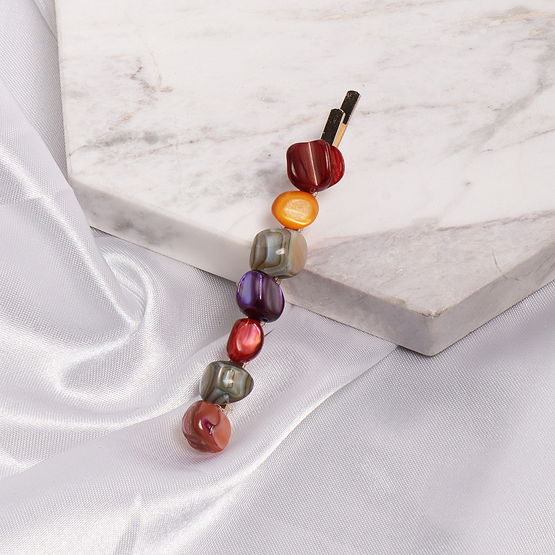Womens Geometric Resin Colored stone styling hair clips NHJJ121722