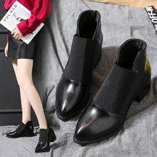 2019歐美新款皮革拼接粗跟尖頭短靴及裸靴簡約女式高跟馬丁靴批發