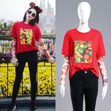 古力娜扎同款短袖T恤女2019夏裝新款韓版時尚印花ins打底上衣紅色