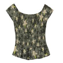 欧美大牌夏季新款?#22278;?#20891;绿色圆领短袖女短款修身T恤抽褶上衣