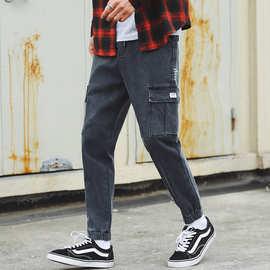 大口袋新潮流工装裤男帅气灰色牛仔裤品质个性主推款男装裤子宽松