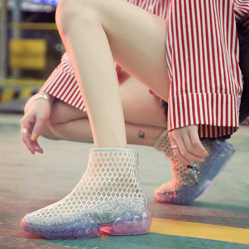 新款春秋水晶鞋女平底短靴百搭中跟网纱凉鞋女夏透气网面果冻单鞋
