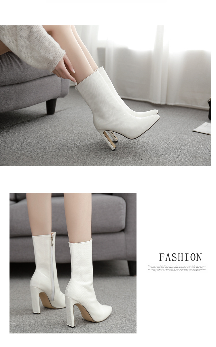 The new crocodile pattern leather pointed toe fashion simple wild boots 35-42 NHEH186114