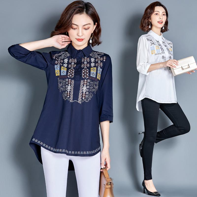 韩版新款大码女装衬衣胖mm200斤中袖上衣宽松显瘦中长款绣花衬衫